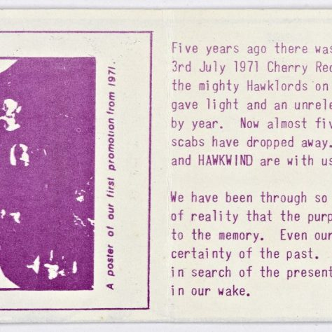Back of ticket for Hawkwind at Malvern Winter Gardens, 09 March 1976