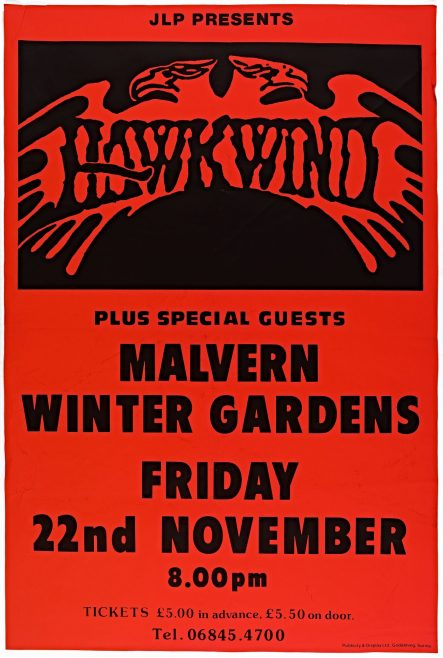 Poster for Hawkwind at Malvern Winter Gardens, 22 November 1985