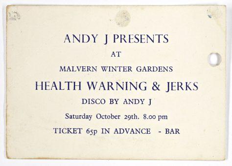 Ticket for Health Warning at Malvern Winter Gardens, 29 October 1977