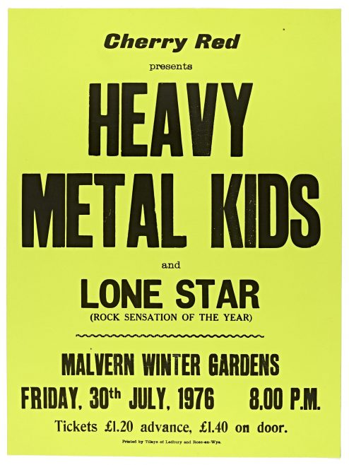 Poster for The Heavy Metal Kids at Malvern Winter Gardens, 30 July 1976