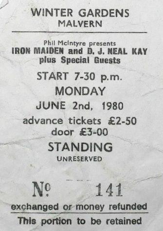 Ticket for Iron Maiden at Malvern Winter Gardens, 2 June 1980