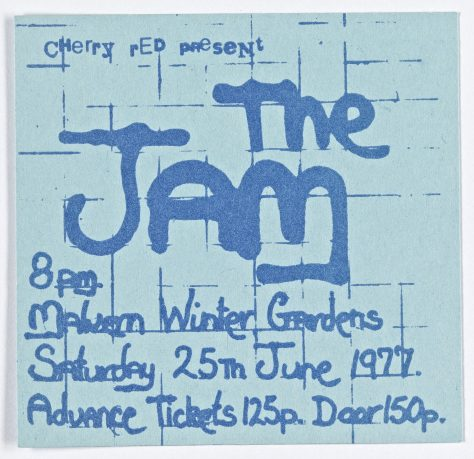 Ticket for The Jam at Malvern Winter Gardens, 25 June 1977