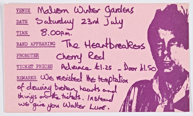 Ticket for Johnny Thunders and the Heartbreakers (cancelled) at Malvern Winter Gardens | Cherry Red Promotions