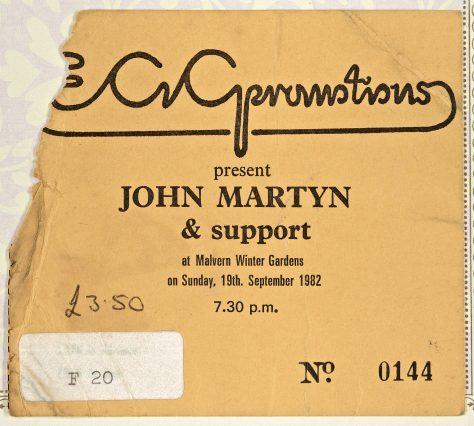 Ticket for John Martyn at Malvern Winter Gardens, 19 September 1982