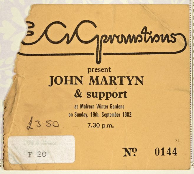 Ticket for John Martyn at Malvern Winter Gardens, 19 September 1982