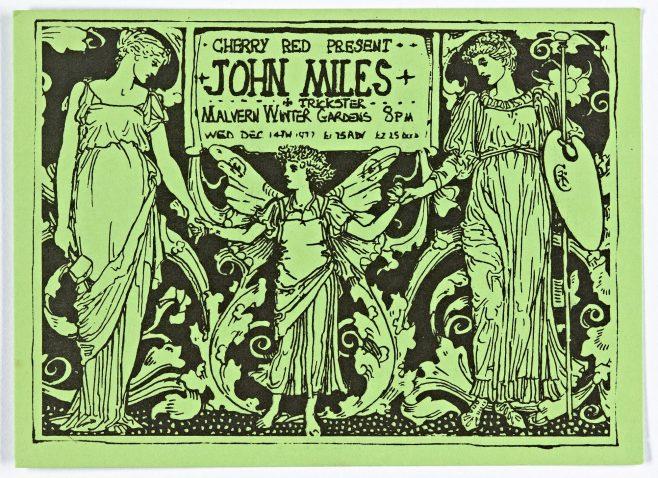 Ticket for John Miles at Malvern Winter Gardens, 14 December 1977