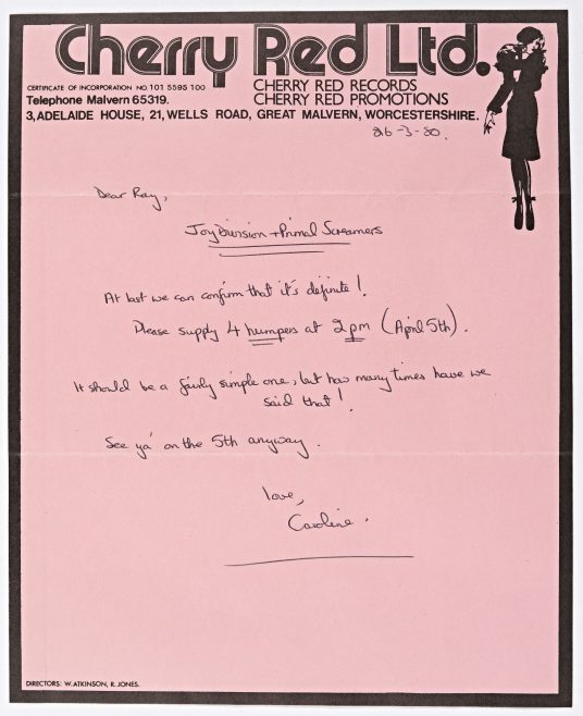 Letter from Cherry Red Promotions, 26 March 1980