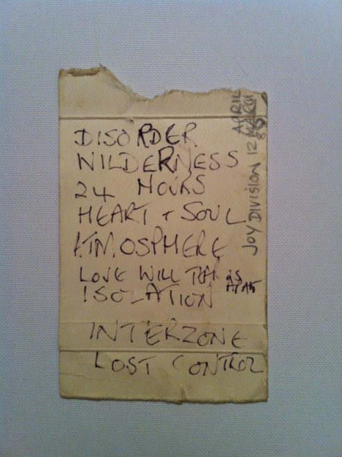 Set list for Joy Division at Malvern Winter Gardens, 5 April 1980