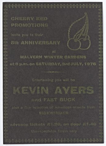 Ticket for Kevin Ayers at Malvern Winter Gardens, 3 July 1976
