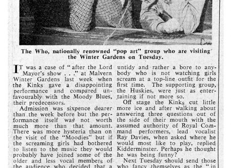 Newspaper cutting from the Malvern Gazette about The Kinks at Malvern Winter Gardens, 2 November 1965
