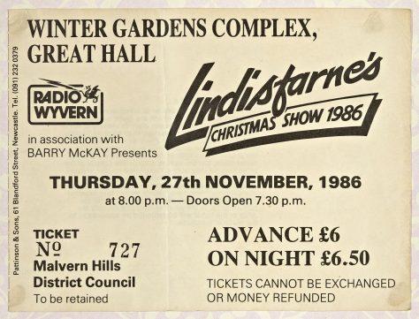 Ticket for Lindisfarne at Malvern Winter Gardens, 27 November 1986