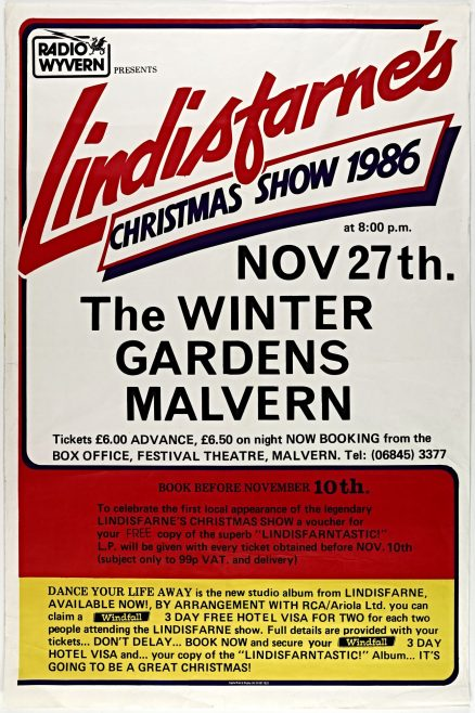Poster for Lindisfarne at Malvern Winter Gardens, 27 November 1986