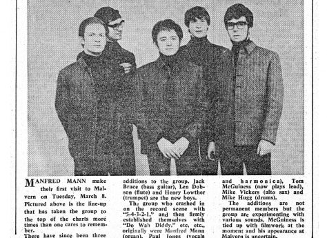 Newspaper cutting from the Malvern Gazette about Manfred Mann at Malvern Winter Gardens, 8 March 1966