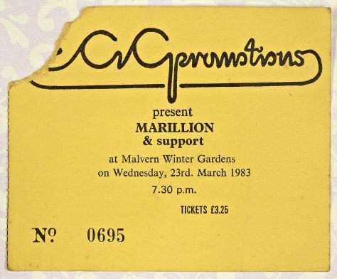 Ticket for Marillion at Malvern Winter Gardens, 23 March 1983