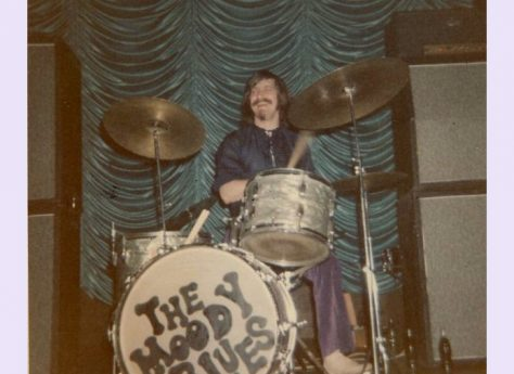 Graeme Edge of the Moody Blues at Malvern Winter Gardens, 1 July 1969
