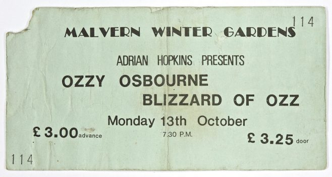 Ticket for Ozzy Osbourne at Malvern Winter Gardens, 13 October 1980