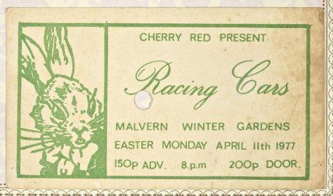 Ticket for Racing Cars at Malvern Winter Gardens, 11 April 1977