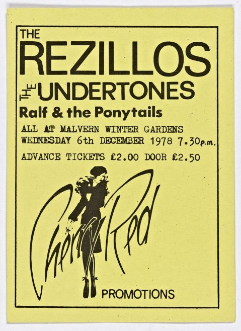 Ticket for The Rezillos at Malvern Winter Gardens. The gig for which the ticket was issued was cancelled. This ticket was used for the substitute gig (Penetration, 06 December 1978) as there was no time to issue new tickets. | Cherry Red Promotions