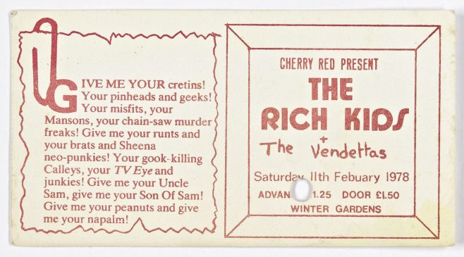 Ticket for The Rich Kids at Malvern Winter Gardens, 11 February 1978