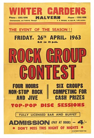 Poster for Rock Group Contest (Heat 1) at Malvern Winter Gardens | Doug Webber