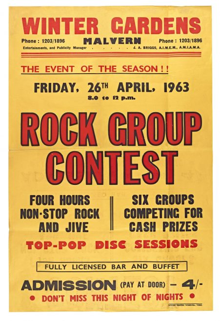 Poster for Rock Group Contest (Heat 1) at Malvern Winter Gardens, 26 April 1963