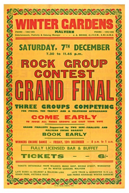 Poster for Rock Group Contest (Grand Final) at Malvern Winter Gardens, 7 December 1963
