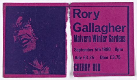 Ticket for Rory Gallagher at Malvern Winter Gardens, 5 September 1980