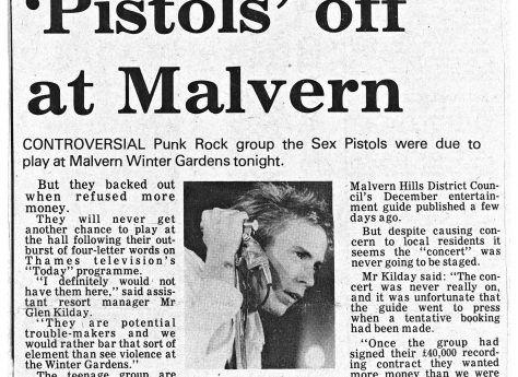 Newspaper cutting from the Malvern Gazette about S.P.O.T.S (Sex Pistols On Tour Secretly) at Malvern Winter Gardens, 1 August 1977