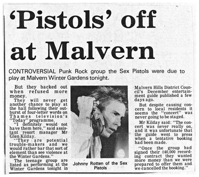 Newspaper cutting from the Malvern Gazette about S.P.O.T.S (Sex Pistols On Tour Secretly) at Malvern Winter Gardens | Malvern Gazette