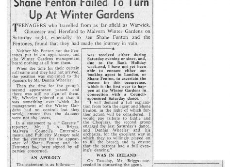 Newspaper cutting from the Malvern Gazette about Shane Fenton and The Fentones (cancelled) at Malvern Winter Gardens, 9 June 1962