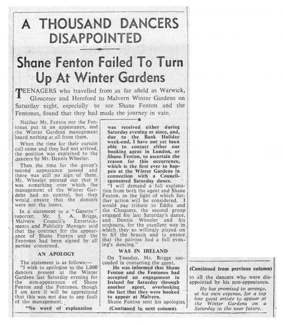 Newspaper cutting from the Malvern Gazette about Shane Fenton and The Fentones (cancelled) at Malvern Winter Gardens | Malvern Gazette