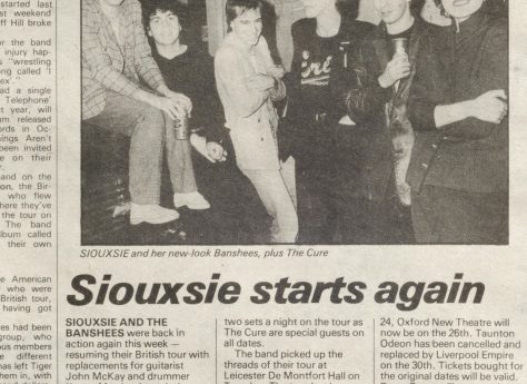Newspaper cutting from the Malvern Gazette about Siouxsie and The Banshees at Malvern Winter Gardens, 22 September 1979