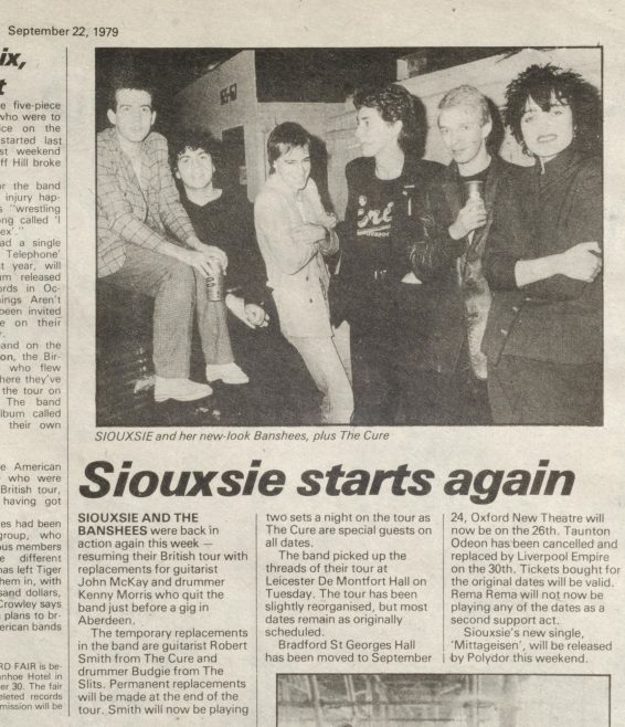 Newspaper cutting from the Malvern Gazette about Siouxsie and The Banshees at Malvern Winter Gardens | Sounds (UK pop/rock music newspaper)