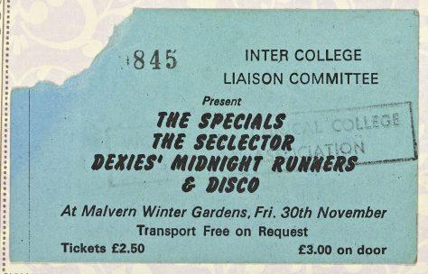 Ticket for The Specials at Malvern Winter Gardens, 30 November 1979