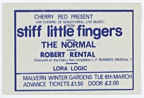 Ticket for Stiff Little Fingers at Malvern Winter Gardens, 6 March 1979