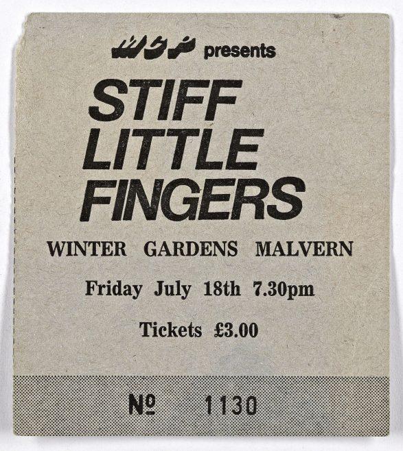 Ticket for Stiff Little Fingers at Malvern Winter Gardens, 18 July 1980