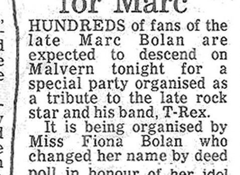 Newspaper cutting from the Malvern Gazette about the T-Rex Party at Malvern Winter Gardens, 5 December 1978