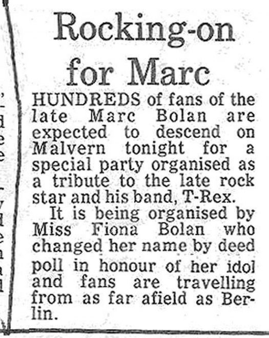 Newspaper cutting from the Malvern Gazette about the T-Rex Party at Malvern Winter Gardens, 5 December 1978
