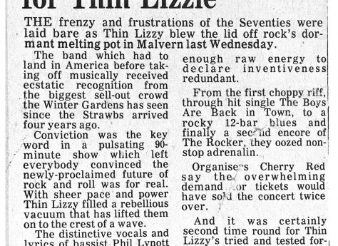 Newspaper cutting from the Malvern Gazette about Thin Lizzy at Malvern Winter Gardens, 27 October 1976