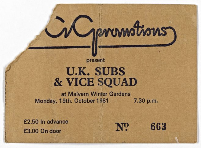 Ticket for The UK Subs at Malvern Winter Gardens | ECG Promotions