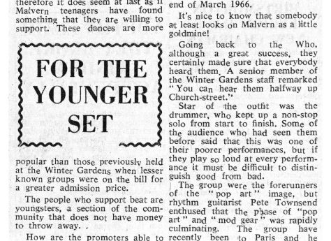 Newspaper cutting from the Malvern Gazette about The Who at Malvern Winter Gardens, 16 November 1965