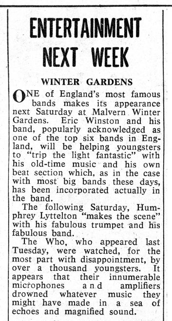 Newspaper cutting from the Malvern Gazette about The Who at Malvern Winter Gardens | Malvern Gazette
