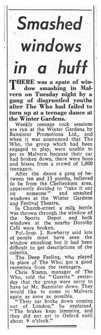 Newspaper cutting from the Malvern Gazette about The Who's cancelled gig at Malvern Winter Gardens | Malvern Gazette