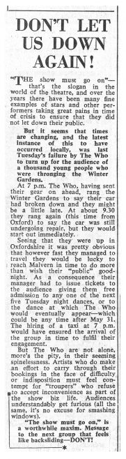 Newspaper cutting from the Malvern Gazette about The Who's cancelled gig at Malvern Winter Gardens | Malvern Gazette