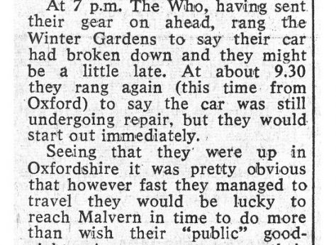 Newspaper cutting from the Malvern Gazette about The Who's cancelled gig at Malvern Winter Gardens, 3 May 1966