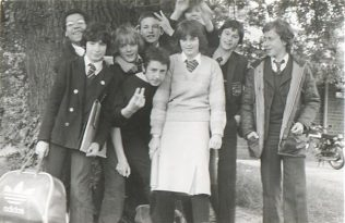 Reg, aged 14 (4th from left, back row) and friends, 1979