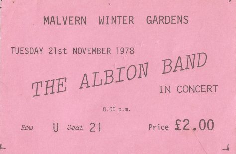 Ticket for the Albion Band at Malvern Winter Gardens, 21 November 1978