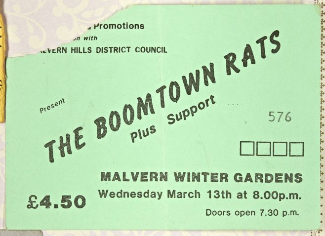 Ticket for The Boomtown Rats at Malvern Winter Gardens, 13 March 1985