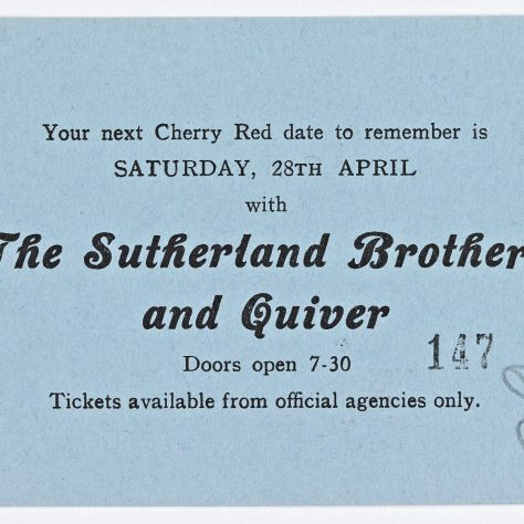 Reverse side of ticket for Curved Air at Malvern Winter Gardens, 07 April 1973, showing an advert for The Sutherland Brothers and Quiver on 28 April 1973