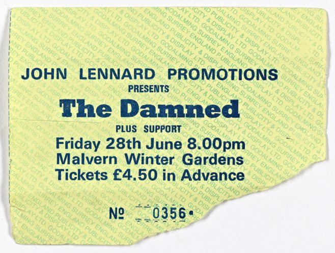 Ticket for The Damned at Malvern Winter Gardens, 28 June 1985